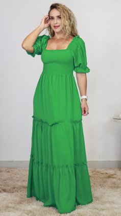 Imagem - Vestido Lastex Manga Bufante - verde