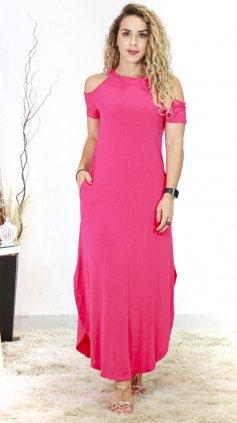 Imagem - Vestido Longo Com Gola E Manga Curta - Rosa Escuro