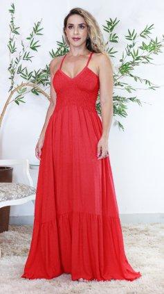 Imagem - Vestido Longo Lastex Amplo - Vermelho