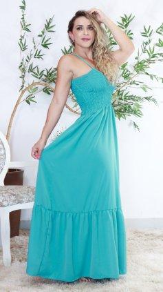 Imagem - Vestido Longo Lastex Amplo - Verde Agua