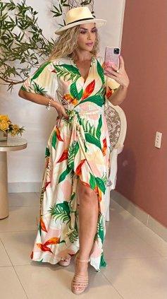 Imagem - Vestido longo Liso Transpassado - Folhagem