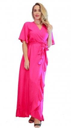 Imagem - Vestido longo Liso Transpassado - Pink