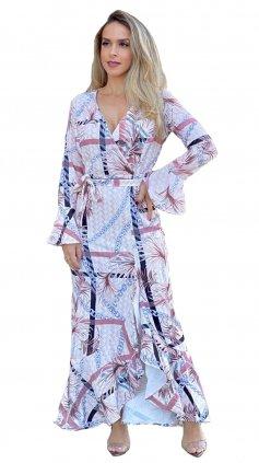 Imagem - Vestido Longo Manga Amplo Soltinha Estampado - Estampado