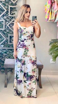Imagem - Vestido Mina Estampado - Estampado Branco