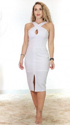Imagem - Vestido Midi Alças Cruzadas Com Bojo - Branco