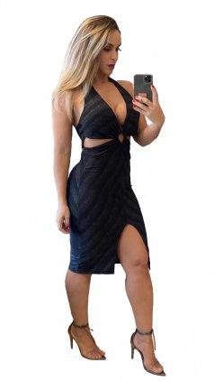 Imagem - Vestido Midi Lurex Fendas Com Decote Ousado Alta Qualidade - Preto