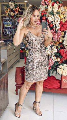 Imagem - Vestido Nude Curto Festa  - Rosê