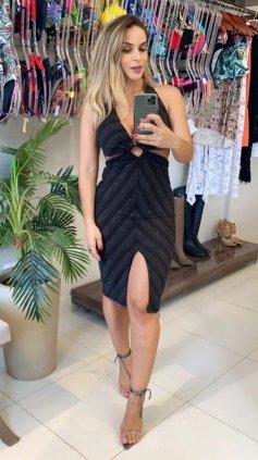 Imagem - Vestido Shine Lurex  - Preto