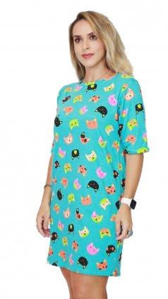 Imagem - Vestido De Malha Com Manguinhas Estampas Variadas - Azul Turquesa