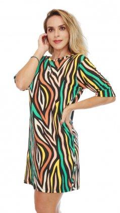 Imagem - Vestido De Malha Com Manguinhas Estampas Variadas - Estampado Preto