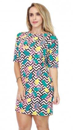 Imagem - Vestido T-shirt Alongado Estampado - Listras