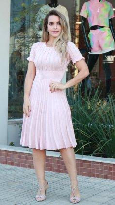 Imagem - Vestido Tricô Modal - Rosa Claro