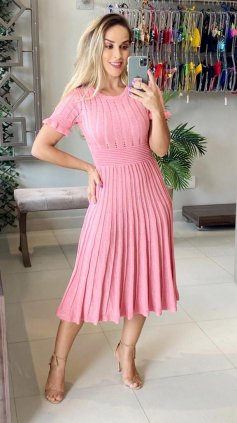 Imagem - Vestido Tricô Modal - Rosa