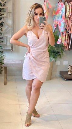 Imagem - Vestido Transpassado de Alça - Rosa Claro