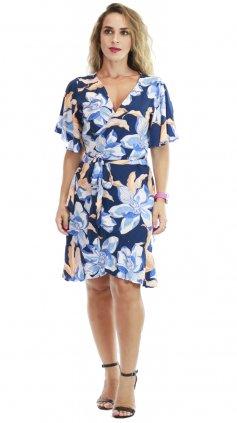 Imagem - Vestido Transpassado Envelope - Azul Royal