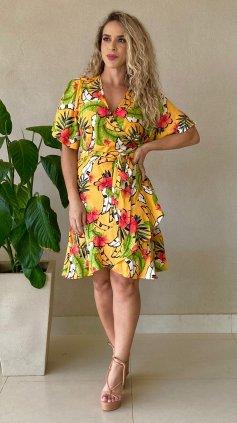 Imagem - Vestido Transpassado Floral Manga Curta - Amarelo Floral
