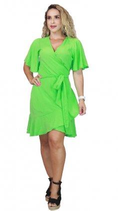 Imagem - Vestido Transpassado Manga Curta Liso - Verde