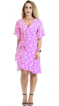Imagem - Vestido Transpassado Poa Bolinhas - Estampa Rosa