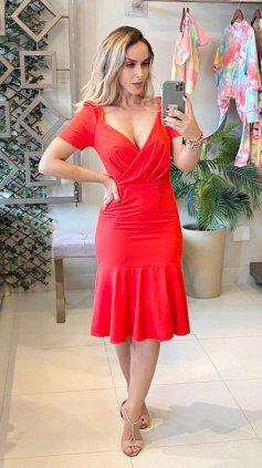 Imagem - Vestido Vermelho Manga Bufante - Vermelho