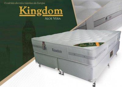 Conjunto Cama Box - Colchão Kingdom Aloe Vera Molas Pocket® Castor com Box SI