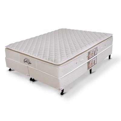 Conjunto Colchão Castor + Box SI Mola Bonnel Gold Star Bambu Pillow Top One Side