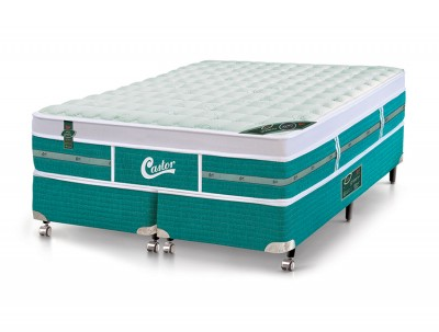 Conjunto Cama Box - Colchão Green Unique Molas Pocket Castor com Box SI