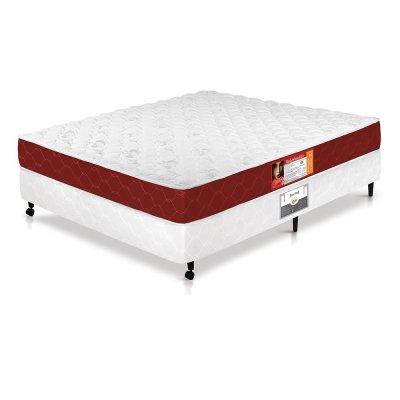 Cama Box + Colchão Castor Casal Espuma Red & White Double Face D33 138x188x65cm