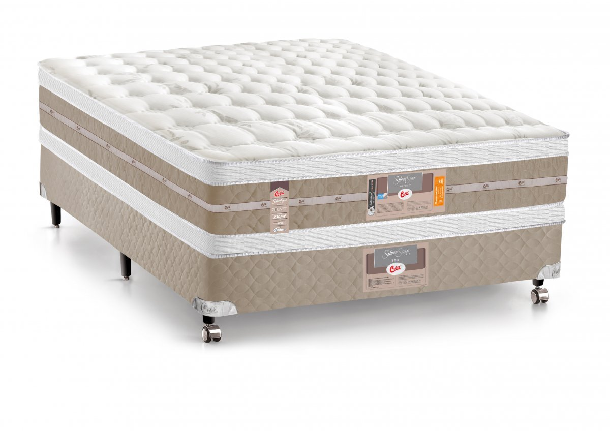 d5851ffe3 Cama Box + Colchão Castor Casal Molas Pocket Silver Star AIR Double Face  138x188x74cm