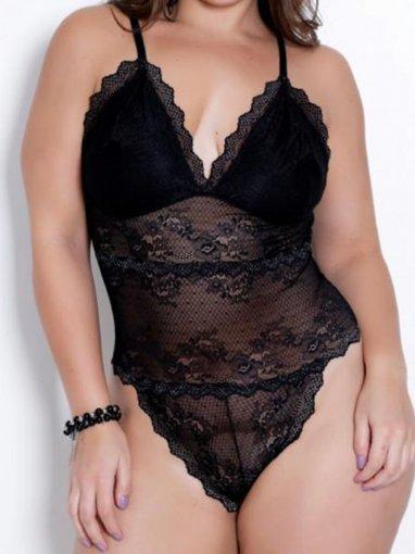 Body Plus Size Rendado
