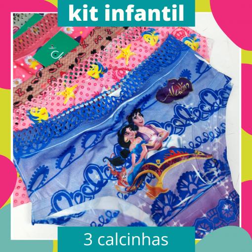 Kit 3 Calcinhas Infantis - Personagens