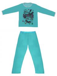 Imagem - Pijama Adulto Blusa Estampada e Calça Lisa cód: 41289011