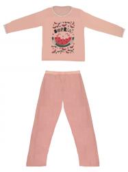 Imagem - Pijama Adulto Blusa Estampada e Calça Lisa cód: 41289024