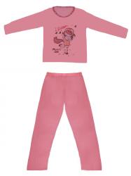 Imagem - Pijama Adulto Blusa Estampada e Calça Lisa cód: 41289006