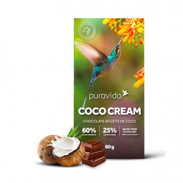 Chocolate coco cream ao leite de coco PURA VIDA 80g