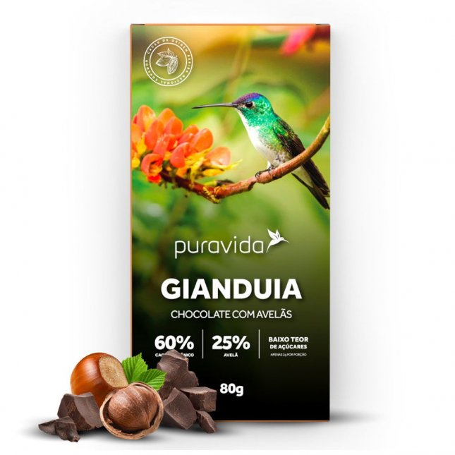 Chocolate gianduia com avelãs PURAVIDA 80g