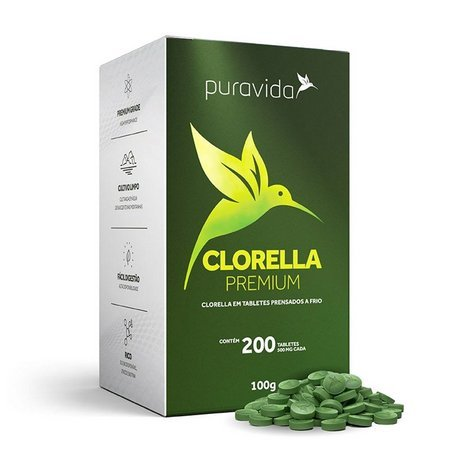 Clorella premium PURAVIDA 200 tabletes de 500mg