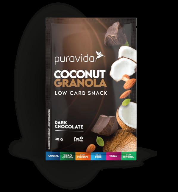Sachê coconut granola dark chocolate PURA VIDA 30g