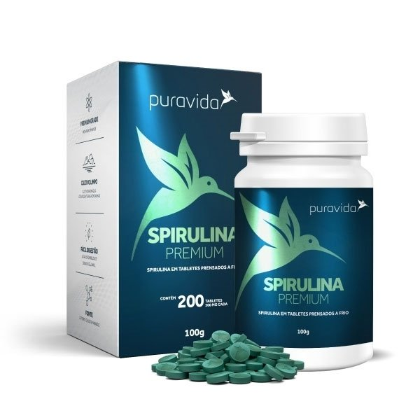 Spirulina premium PURAVIDA 200 tabletes de 500mg