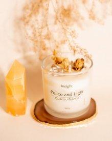 Imagem - Vela peace and light com cristais de quartzo branco e ágata INSIGHT