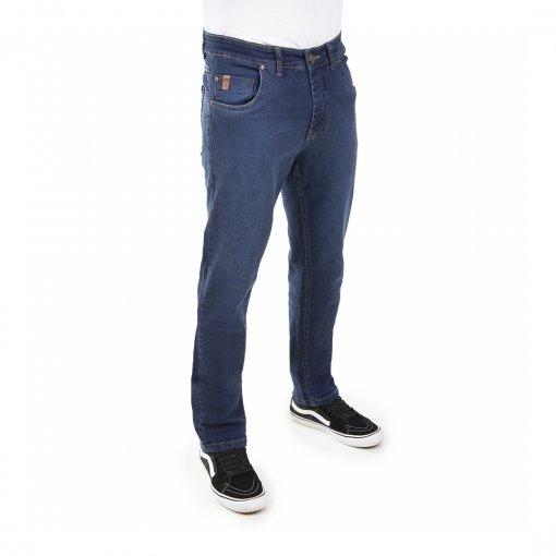 Calça Jeans Comfort Masculina Com Cinco Bolsos De Cor Azul Médio