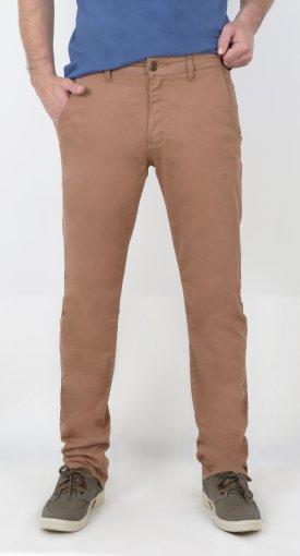 Calça Sarja Masculina Slim Com Bolso Faca De Cor Bege