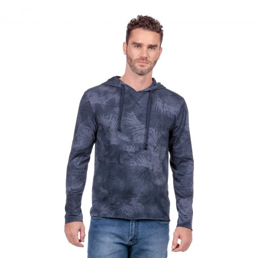 Camisa Casual Slim Com Capuz Estampado De Cor Marinho