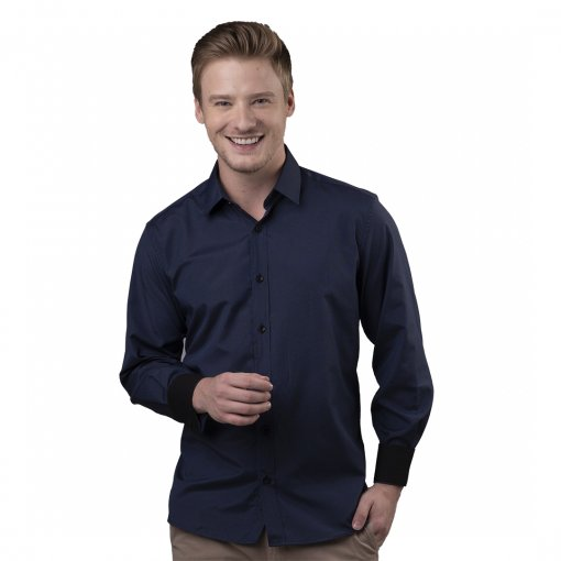 Camisa Slim Masculina 100% Algodão De Cor Marinho