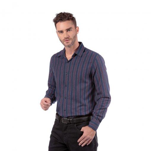Camisa de Flanela Listrada Slim