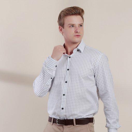 Camisa Slim Masculina Manga Longa Xadrez Botão Com Costura De Cor Branca