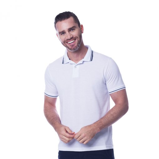 Camisa Polo Slim Masculina Manga Curta Branca