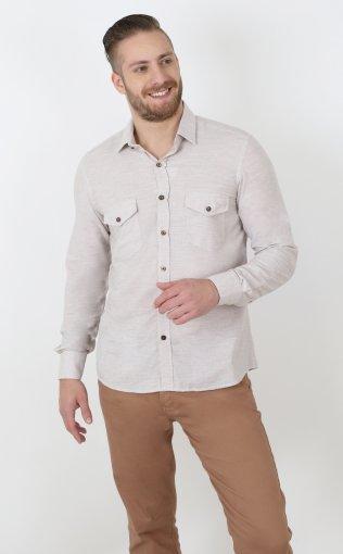 Camisa Slim Masculina Manga Longa Maquinetada