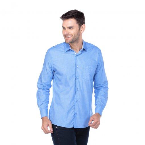 Camisa Tradicional Lisa Azul
