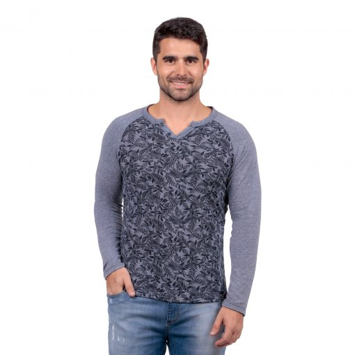 Camiseta Casual Floral Marinho