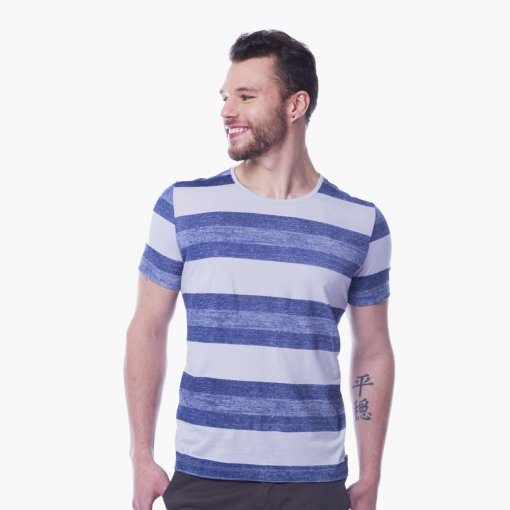 Camiseta Slim Masculina Manga Curta Listrada Azul